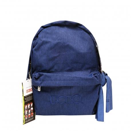 Polo σχολική τσάντα πλάτης μπλε, με μαντήλι