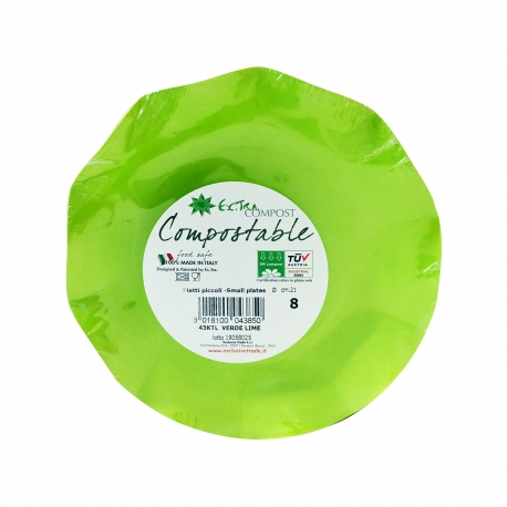 Exclusive trade πιάτα μίας χρήσης extra compost πράσινο 21 εκ (8τεμ.)