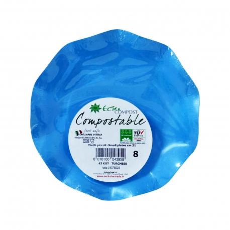 Exclusive trade πιάτα χάρτινα extra compost μικρά, μπλε 21 εκ (8τεμ.)