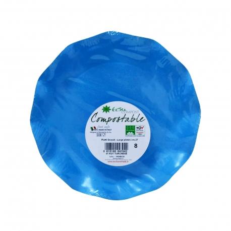 Exclusive trade πιάτα χάρτινα extra compost μεγάλα, μπλε 27 εκ (8τεμ.)