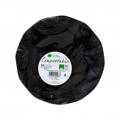 Exclusive trade πιάτα χάρτινα extra compost μεγάλα, μαύρα 27εκ. (8τεμ.)