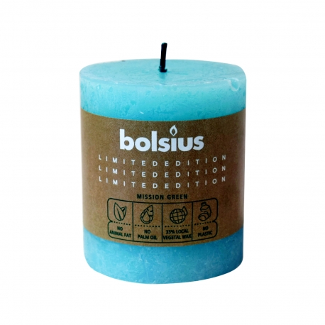 Bolsius κερί κορμός limited edition mission green γαλάζιο