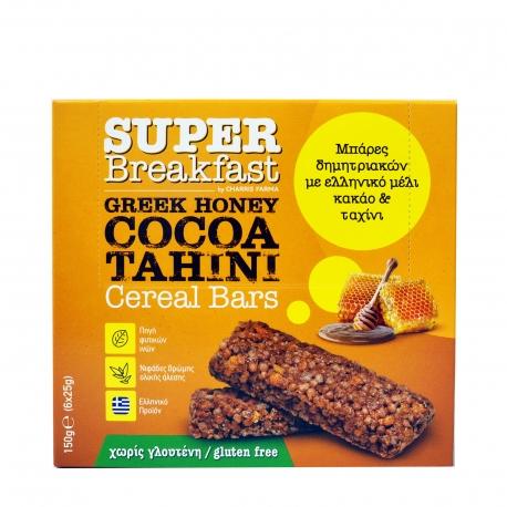 Super breakfast μπάρα δημητριακών μέλι, κακάο, ταχίνι - χωρίς γλουτένη (6x25g)