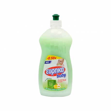 Εύρηκα υγρό πιάτων για πλύσιμο στο χέρι baby σαπούνι με λάδι ελιάς & εκχύλισμα βιο χαμομηλιού & λεμονιού ειδικό για βρεφικά σκεύη (500ml) (-0.5€)