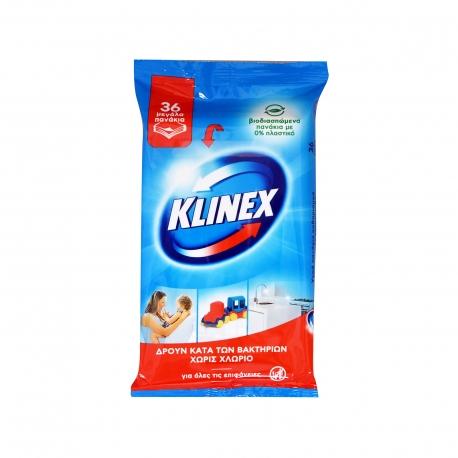 Klinex υγρά αντιβακτηριδιακά πανάκια καθαρισμού χωρίς χλώριο (36τεμ.)