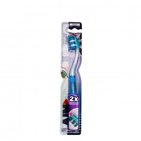 Aim οδοντόβουρτσα vertical expert double μέτρια, μπλε